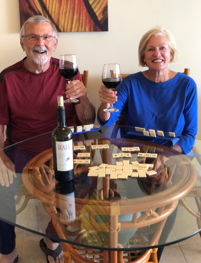 This time of isolation has been great for our 63 year marriage.  We've been playing cards and board games at a rate we haven't made time for in decades. Reminds me how often she beats me. And when she's happy, we're happy! - Marilyn & Bob, Danville, CA