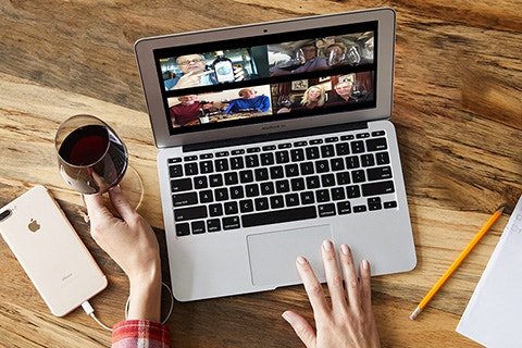 Bespoke Tasting laptop, phone and red wine image