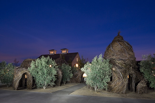 The Olive Grove Event Space at night